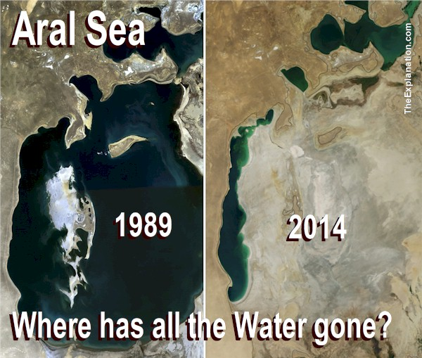The Aral Sea in 1989 and 2014. Diverting water has wasted this Sea and wrecked havoc with the livelihoods of those generations which depended on it.