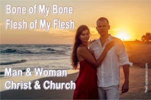 Bone of my bone, flesh of my flesh. Adam's statement about the intimate unity of man and woman and spiritually Christ and the Church.