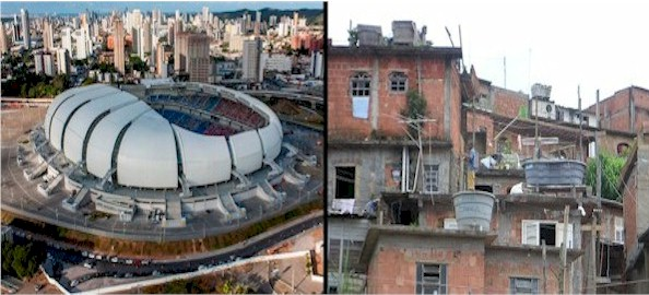Contrast and questions: New World Cup Stadium, Natal, Brazil and Favela in Rio. This poses a number of questions about how to bring peace and prosperity to Earth (click for credit)