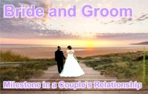 Bride and groom, a milestone in the relationship of a couple. It follows courtship and precedes marriage. It's a celebration.