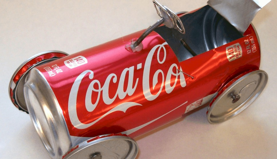 Race car created from a soda can