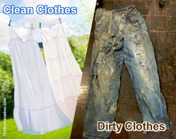 Adam and Eve's positive nakedness/wisdom is associated with clean clothes. On the other hand, the serpent's negative subtlety and guile are associated with dirty clothing.