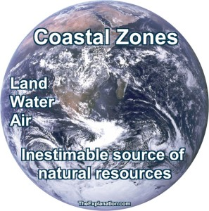 WATER: Covers 71% of the Earth's surface; The Antarctic ice sheet, contains 61% of all fresh water on Earth, LAND: In the image, see the coastal zones of Africa. AIR: Condensed atmospheric water can be seen as clouds,