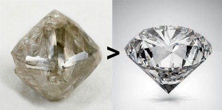 Diamond production. From rough to finished, a process with four steps that take years to master. That's learning