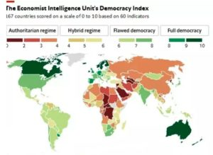 Human rule around the world takes on all shades as this map of democratic indicators reveals.