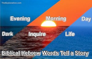 Evening and morning in Biblical Hebrew have much more meaning than just time-of-the-day. They tell a story of going from dark to inquiry culminating in day which is life. Quite a story.