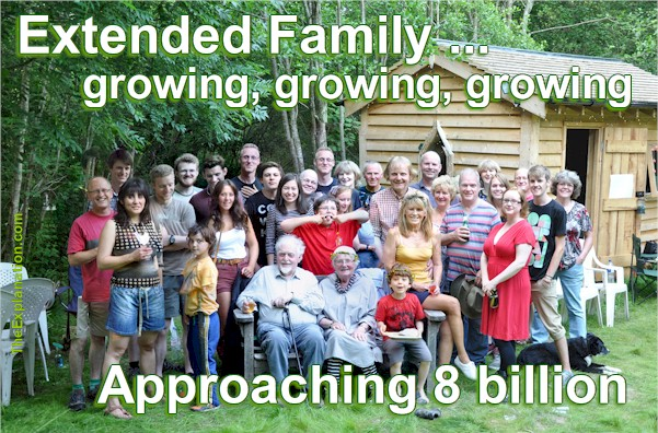 Extended family. Growing, growing, growing as world population approaches 8 billion people.