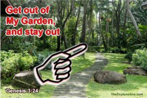 Get out of My Garden, God told Adam and Eve, and don't come back, until...