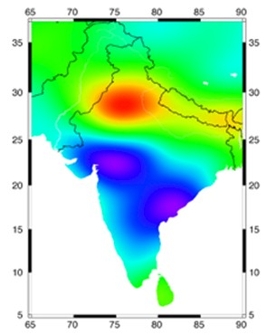 Satellites in orbit track the groundwater disappearing beneath the farmlands of northern India, between Jaipur and Delhi.