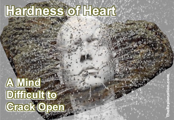 Hardness of heart means a human mind, hard to crack open, difficult to reach.
