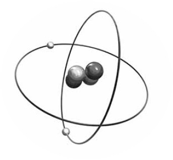 A helium atom composed of two heavy protons, two heavy neutrons and two electrons.