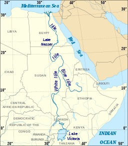 Horn of Africa with the Nile up to its source in Ethiopia.