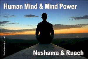 Human mind and mind power, nesahama and ruach.