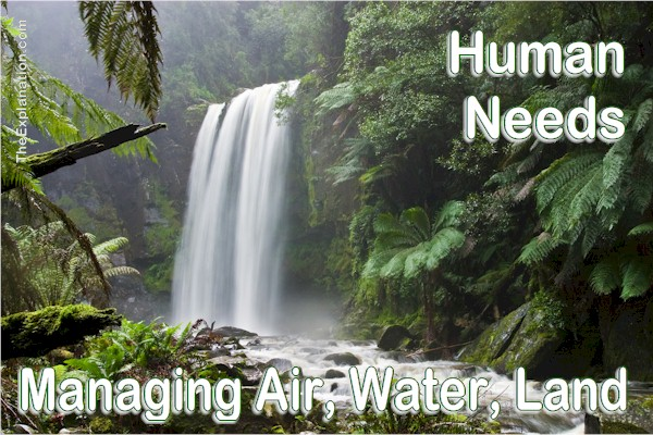 Human needs. How are we managing the air, water and land we need to survive? Government means taking care of the basics.