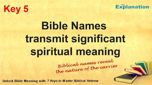 Key 5. Bible Names have Descriptive Personal Meaning