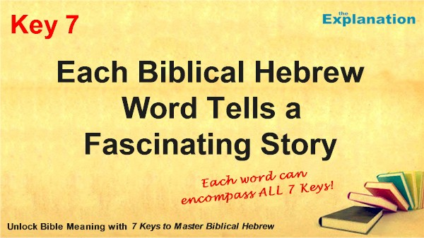 Each Biblical Hebrew word tells a fascinating story. These stories unlock Bible meaning.