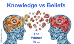 Knowledge is experiential. Religion is based on beliefs. Is there a winner? Or our their other vital questions hidden by such a debate?