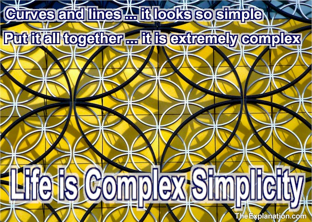 Curves and lines ... it looks simple. Put it all together ... it is extremely complex. Life is complex simplicity.