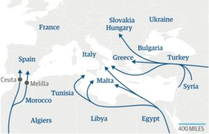 Migration routes to Europe considered the Eldorado for peoples from poorer nations.