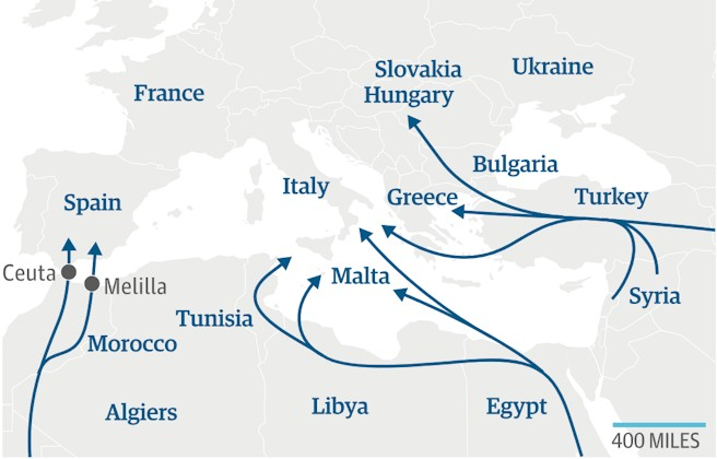 Globalization faces migration routes to Europe considered the Eldorado for peoples from poorer nations