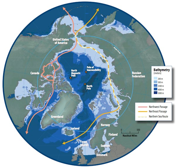 The Northern Sea Route. Nuclear powered ship break ice in Bering Straits to allow regular cargo to pass through.