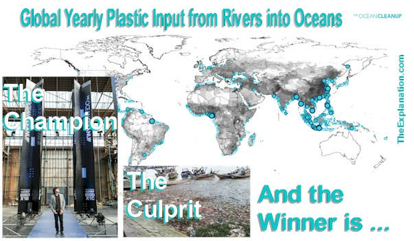Yearly plastic input from rivers into oceans and Boyan Slat's Ocean Cleanup project.