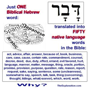 One Biblical Hebrew word 'davar' is translated in the KJV Bible by FIFTY different English words and phrases. Bible readers don't know this and certainly don't know why this happens. Do you?