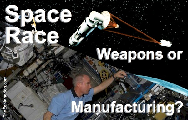 The Space Race isn't which country will win the war, but for humankind's sake, will peaceful or belligerent pursuits win out?