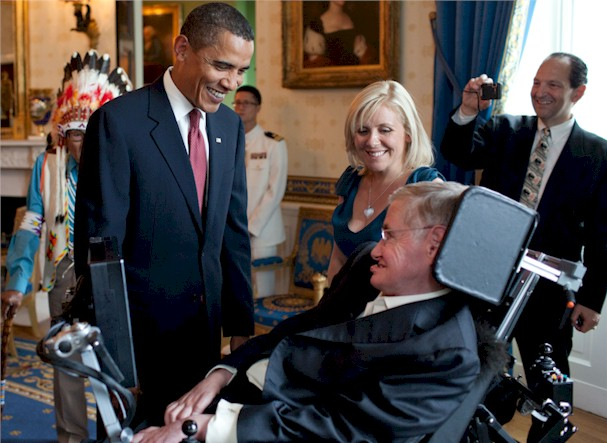 Cosmologist Stephen Hawking with his daughter Lucy and President Obama. An incredible example of a fragile body and a forceful mind