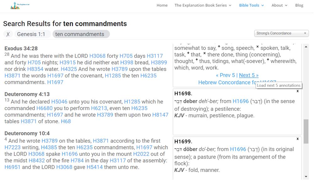 Ten Commandments. Click on Next 5