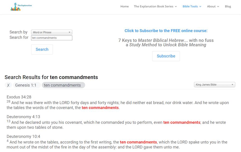 Ten Commandments. Search at UnlockBibleMeaning.com