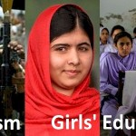 Fierce Terrorism on one side, Girls' Education on the other. In the middle Malala standing up for what she believes in.