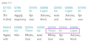 John 1.1 in Greek Theos Logos. This is the basis of the English word Theology.