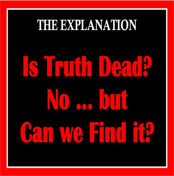A take-off of Time magazine's famous covers: Is God Dead? and Is Truth Dead? Can we just let these two major question be? No.