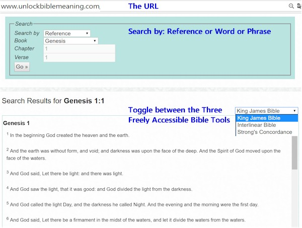 On this website you'll find free access to three basic tools:: 1. King James Bible 2. Interlinear Bible for the original Biblical Hebrew with its counterpart King James' translation 3. Strong's Concordance is a multi-function Bible tool that fundametally helps find other translations of the same Hebrew word and locate those words elsewhere in the Bible. Along with other other functions it will help us Dig for Bible Meaning.